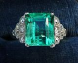 Fabulous art deco 18ct 18k white gold 3.92ct colombian emerald and diamonds vintage antique ring